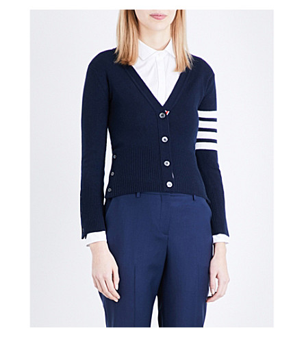 THOM BROWNE Stripe-detail cashmere cardigan (Navy