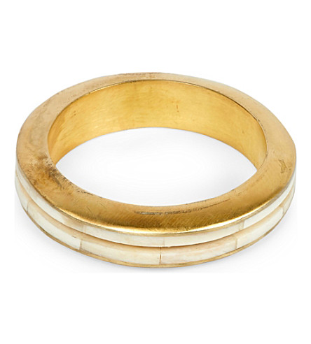 PARTS OF FOUR Portal Crevice bone and acid-wash gold-plated bangle (Acid+gold/bone