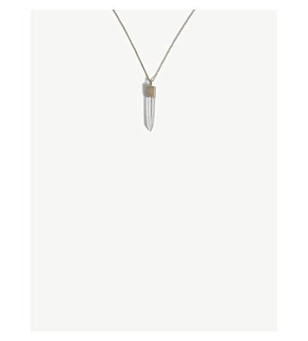PARTS OF FOUR Lemurian quartz pendant dirty sterling silver necklace (Quartz/matte+sterling