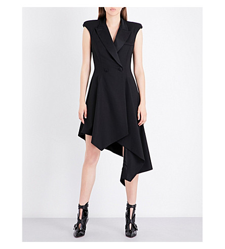 MONSE Asymmetric wool-blend dress (Black
