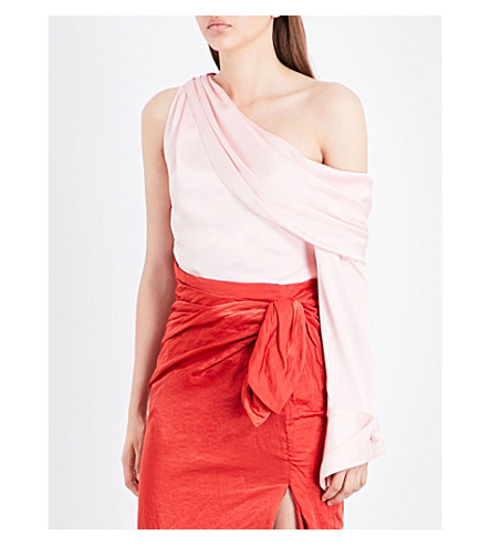 MONSE One-sleeved satin top (Blush