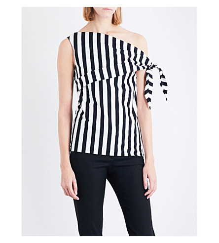 MONSE Asymmetric one-shoulder striped stretch-cotton top (Black/white