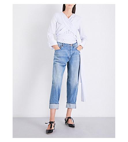MONSE Striped wrap-over cotton shirt (White/blue