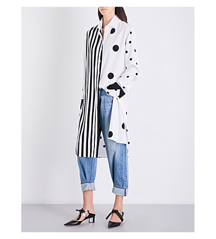 MONSE Oversized pinstriped and polka dot cotton shirt (White/black