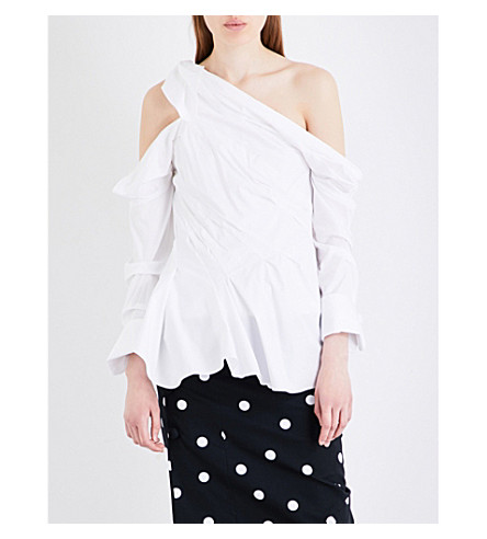 MONSE Cold shoulder cotton-blend shirt (White