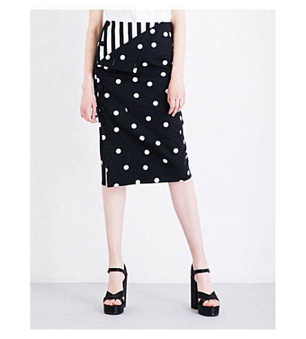 MONSE Polka dot-print stretch-cotton pencil skirt (Black/white