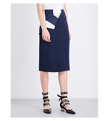 MONSE Striped-panel fitted crepe skirt (Navy/ivory