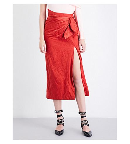 MONSE Bow-detail creased high-rise cottton-blend skirt (Paprika