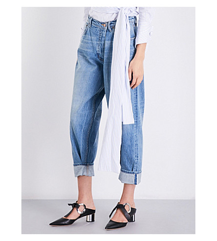 MONSE Boyfriend-fit tapered mid-rise jeans (Rinsed+blue