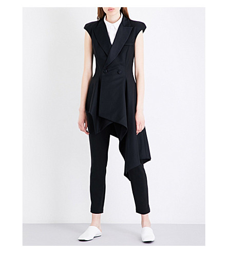 MONSE Asymmetric wool-blend jacket (Black