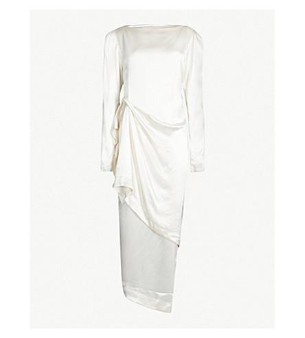 LITKOVSKAYA Assymetric draped silk-satin dress (Cream
