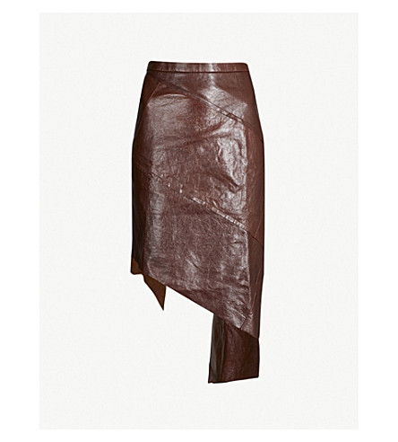 LITKOVSKAYA Viva assymetric leather skirt (Brown