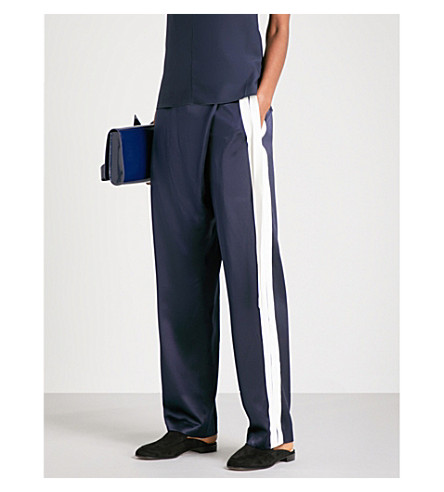 DION LEE Bonded wide mid-rise silk-satin trousers (Navy