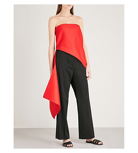 DION LEE Sail strapless wool and silk-blend top (Red