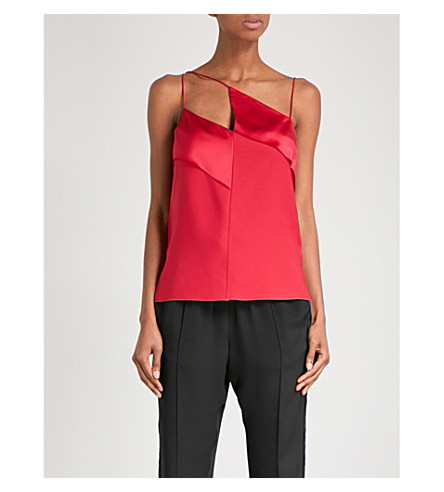 DION LEE Diagonal silk-satin camisole (Cherry