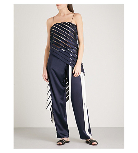 DION LEE Suspended sleeveless silk top (Navy