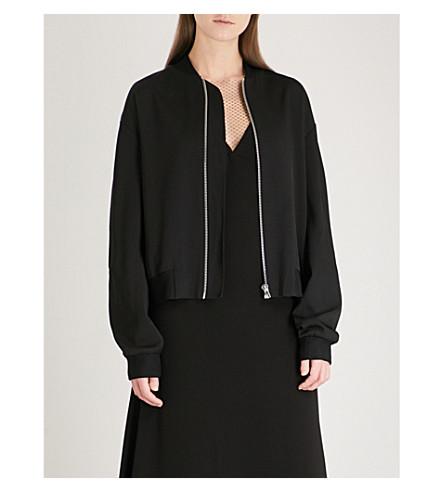 DION LEE Soft twill bomber jacket (Black