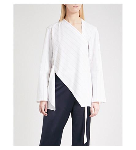 DION LEE Spiral Stripe cotton-blend shirt (Black+stripe