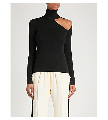 DION LEE Spiral Skivvy turtleneck stretch-wool jumper (Black