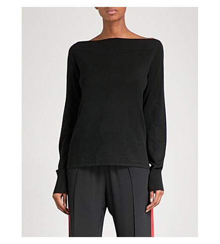DION LEE Spiral Loop boat-neck stretch-wool jumper (Black