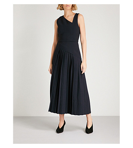 DION LEE Pleated crepe dress (Navy