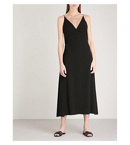 DION LEE Lace tile sleeveless crepe midi dress (Black