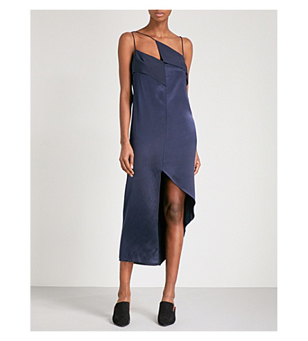 DION LEE Diagonal silk-satin camisole dress (Navy