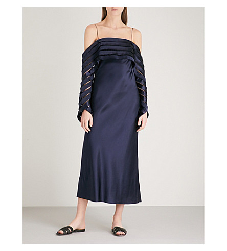 DION LEE Suspended cold-shoulder silk-satin midi dress (Navy