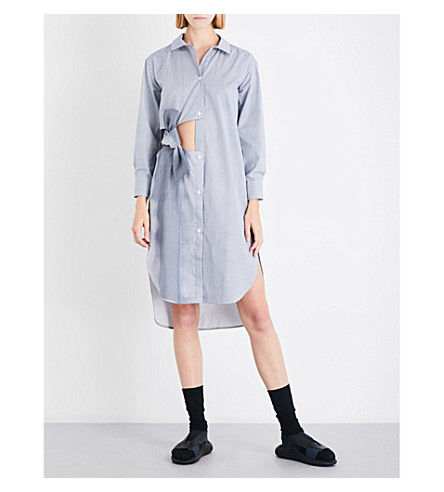 ROBERTS WOOD Cutout bow striped cotton shirt dress (Navy+dstrd+stripe