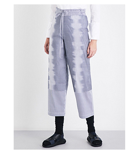 ROBERTS WOOD Straight high-rise dig-print cotton-blend trousers (Navy/white+stripe