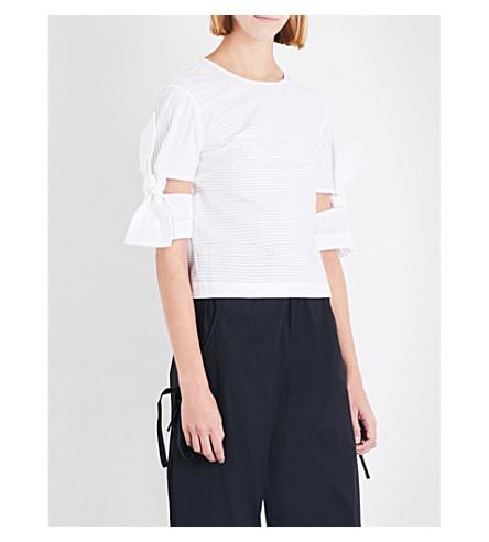ROBERTS WOOD Cutout bow pintuck-pleat cotton shirt (White