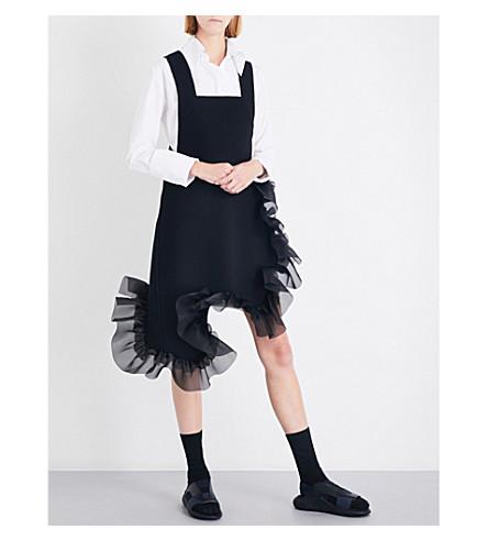 ROBERTS WOOD Ruffled-hem merino wool pinafore dress (Black