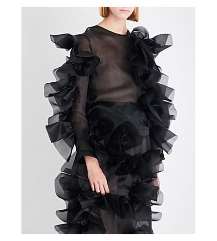 ROBERTS WOOD Ruffled-detail silk-organza top (Black