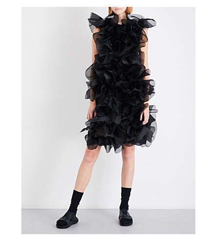 ROBERTS WOOD Ruffled-detail silk-organza dress (Black