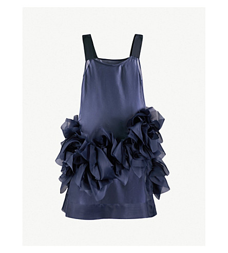 ROBERTS WOOD Ruched-hem silk-organza dress (Navy
