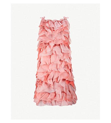 ROBERTS 木 Ruched 领带肩丝纱连衣裙 (彩虹 + 粉红色