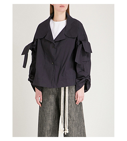 ROBERTS WOOD Adjustable sleeve stretch-cotton shirt (Navy