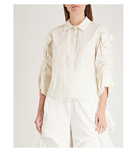 ROBERTS WOOD Adjustable-sleeve stretch-cotton shirt (Off-white