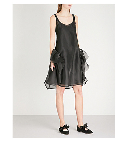 ROBERTS WOOD Gathered sleeveless silk dress (Black