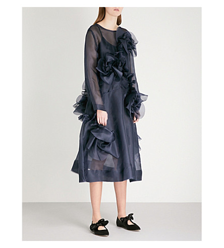 ROBERTS WOOD Floral-embellished silk dress (Navy