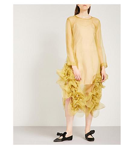 ROBERTS WOOD Floral-embellished silk dress (Chartreuse