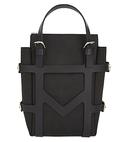 FLEET ILYA Cage leather backpack (Black/silver