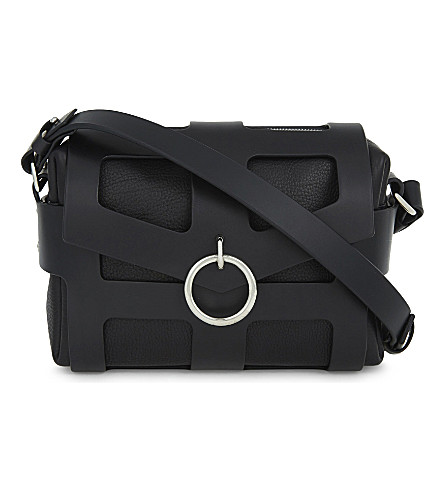 FLEET ILYA O-ring leather cage bag (Black/silver