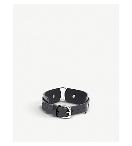 FLEET ILYA Chunky O-ring leather choker (Black/silver