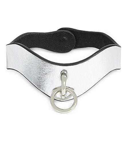 FLEET ILYA Slim O-Ring metallic leather choker (Silver