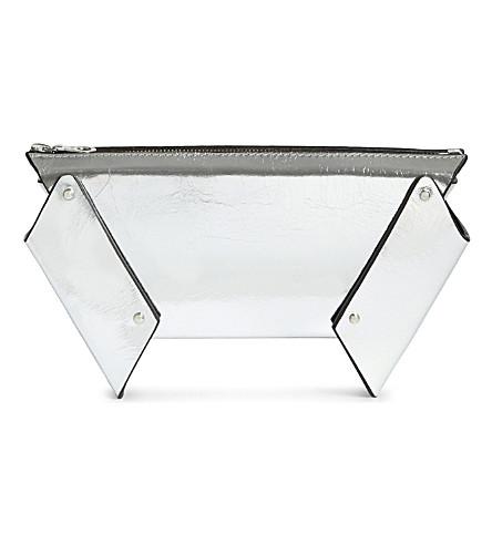 FLEET ILYA Winged box leather clutch (Silver