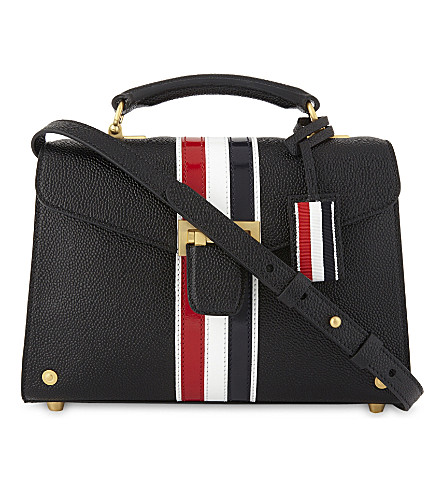 THOM BROWNE Mrs.Thom stripe pebbled leather tote bag (Black