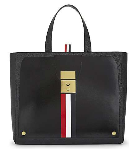 THOM BROWNE Trompe l'oeil tote bag (Black