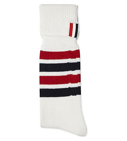 THOM BROWNE Striped cashmere-blend socks (White