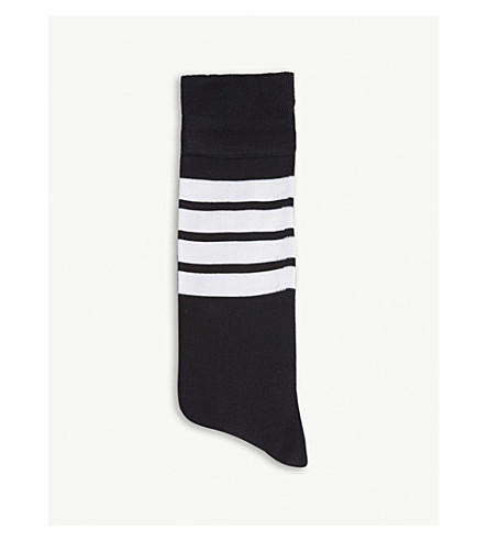 THOM BROWNE Four bar-striped cotton socks (Navy